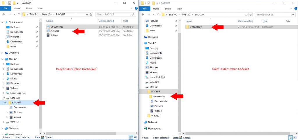 Daily Folder Option