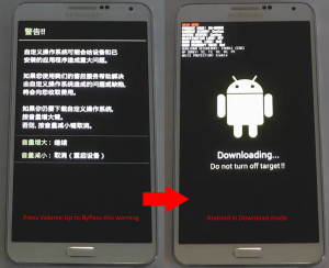Bypass warning and Note 3 in download mode