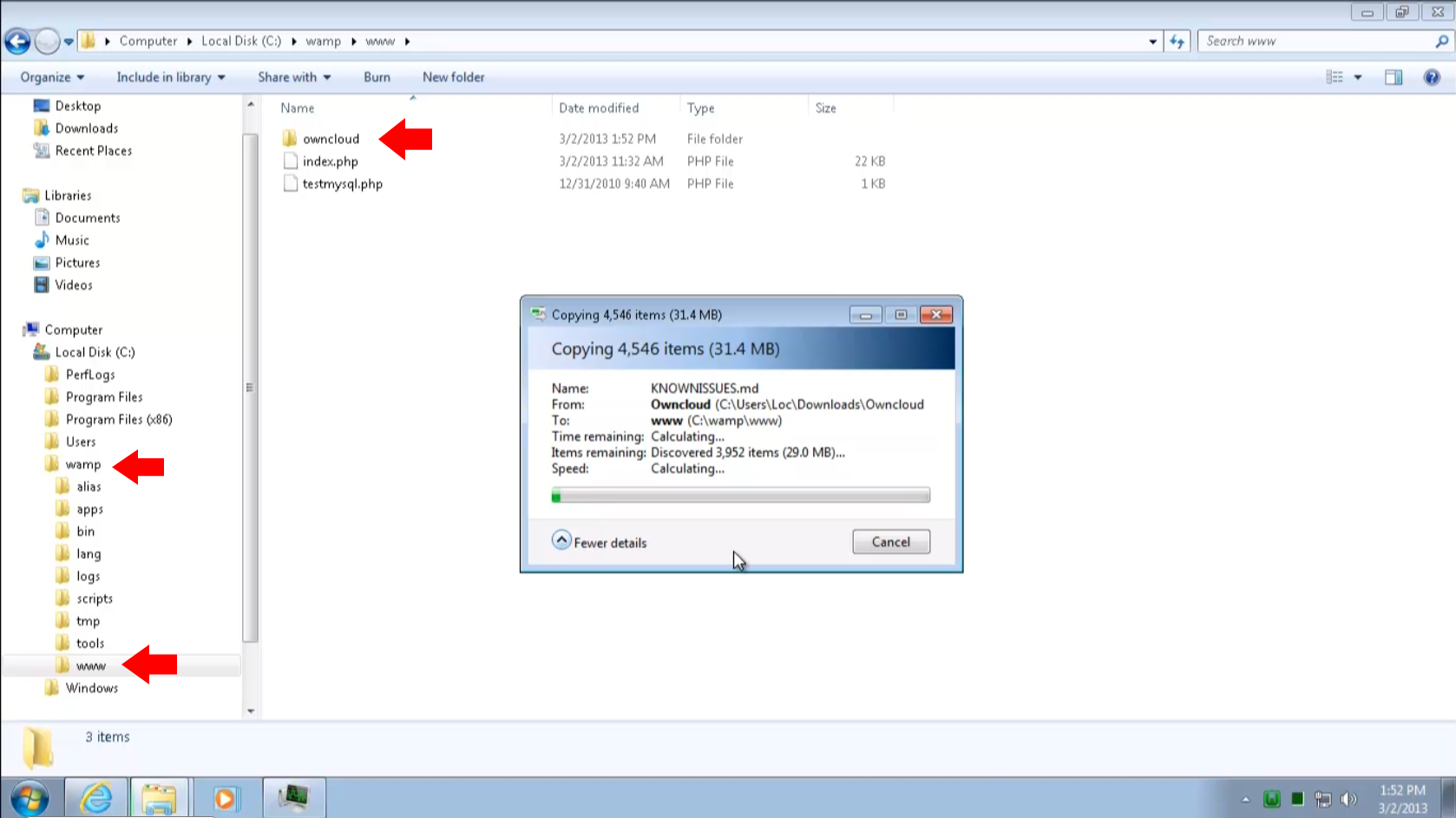 Install and Configure ownCloud Server on Windows 7 using