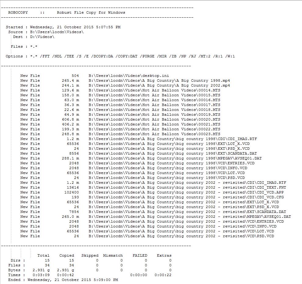 Sample RoboCopy Detailed Log